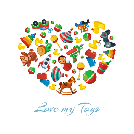 top gun: Toys icons for kids in shape of heart. Toys vector illustrations pack. Cartoon toys pattern
