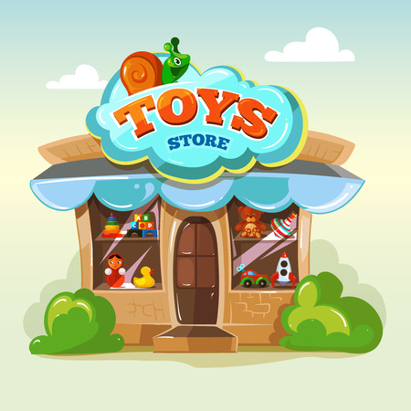 Toy store. Facade of toy store. Vector illustration isolate on light background. Toys vector illustrations pack. Show window with toys