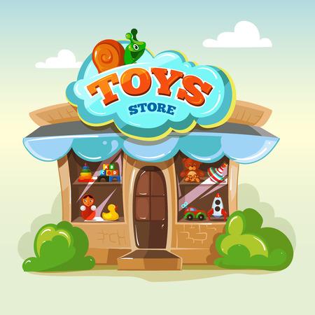 Tienda de juguetes. Fachada de la tienda de juguetes. Ilustración del vector aislado en el fondo claro. Paquete de ilustraciones de vectores de juguetes. Mostrar ventana con los juguetes