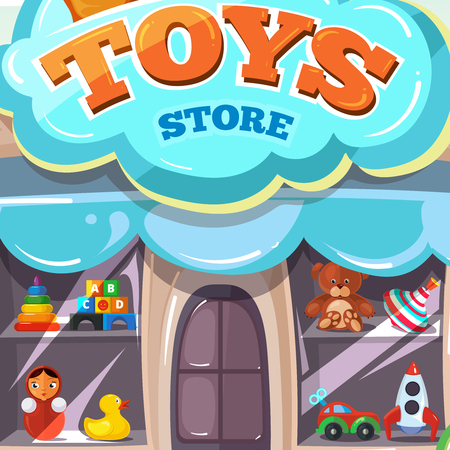 show window: Toy store. Facade of toy store. Vector illustration isolate on light background. Toys vector illustrations pack. Show window with toys
