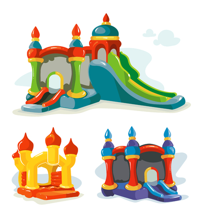 Vector illustration of inflatable castles and children hills on playground. Pictures isolate on white background Çizim