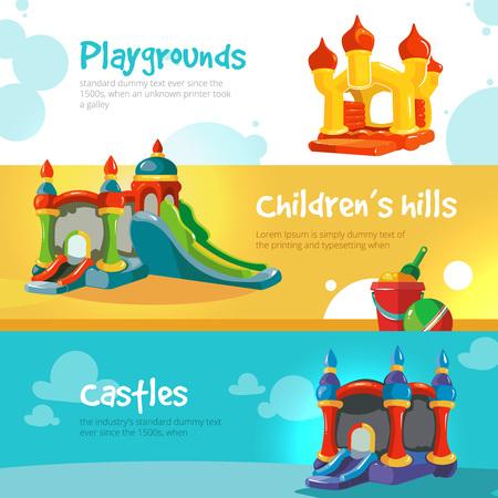 Ilustración del vector de castillos hinchables y colinas niños en patio. Conjunto de banderas de la tela con la imagen de castillos hinchables.