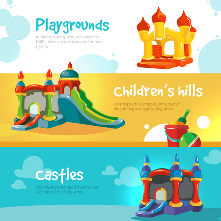 Vector illustration of inflatable castles and children hills on playground. Set of web banners with picture of inflatable castles. Vectores