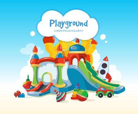 Vector illustratie van springkastelen en kinderen heuvels op de speelplaats. Set van kinderspeelgoed op speelplaats