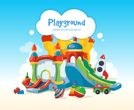 castle tower: Vector illustration of inflatable castles and children hills on playground. Set of children toys on playground Illustration