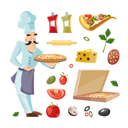 cheese cartoon: Vector Cartoon set with ingridients of pizza. Tomato, cheese and mushrooms isolate on white background. Cook offers pizza on tray Illustration
