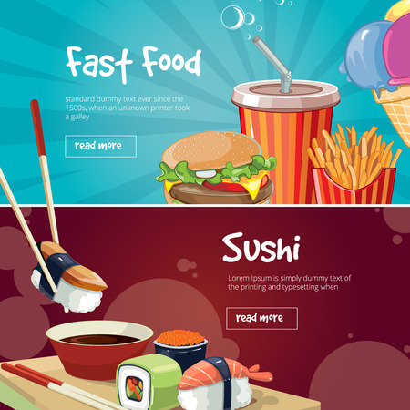 kobe: vector illustration of two web banners with fast food pictures. Sushi, rolls, burger, cola, French fries and ice cream