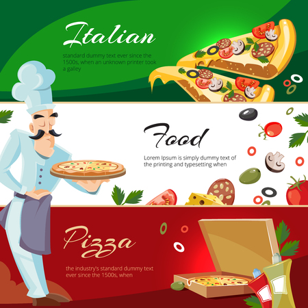 ingridients: Vector Cartoon web banners with ingridients of pizza. Tomato, cheese and mushrooms. Cook offers pizza on tray Illustration