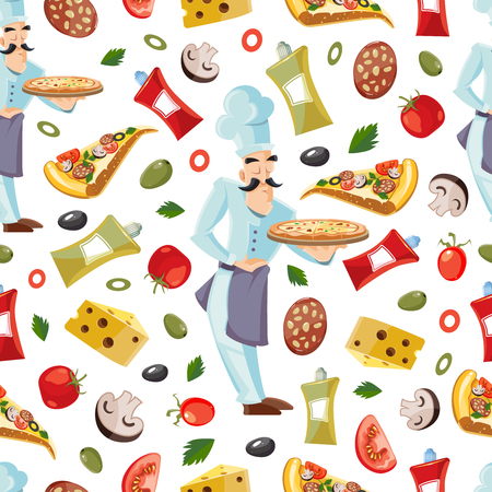 ingridients: Vector Cartoon Cartoon seamless patter with ingridients of pizza. Tomato, cheese and mushrooms isolate on white background. Cook offers pizza on tray Illustration