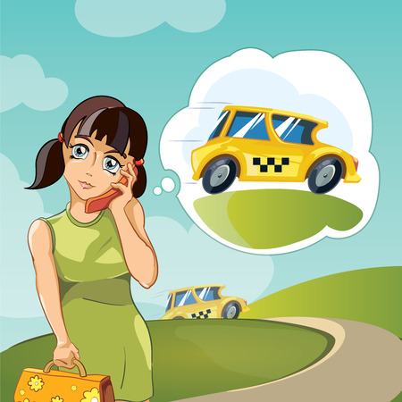 Vector illustration of Yong woman calling a taxi. Cartoon concept design for web, site, advertising, banner, poster, board and print.