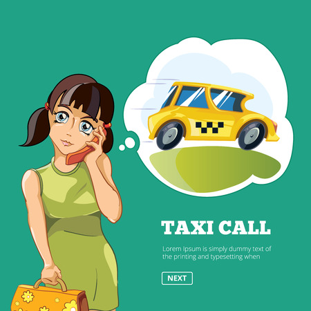 yong: Vector illustration of Yong woman calling a taxi. Cartoon concept design for web, site, advertising, banner, poster, board and print. Picture with place for your text