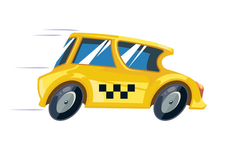 carting: vector ilustration of yellow taxi car isolate on white background. Cartoon taxi picture