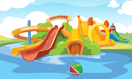 Water slide in an aquapark. Vector illustration. Cartoon pictures of water slide and inflatable castles on playground. Vettoriali