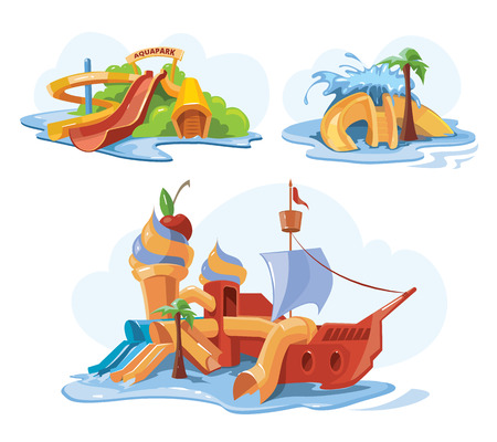 Set of Water slide in an aquapark. Vector illustrations. Cartoon pictures set of water slide for web, site, advertising, banner, poster, board and print. Water slide idolate on white background