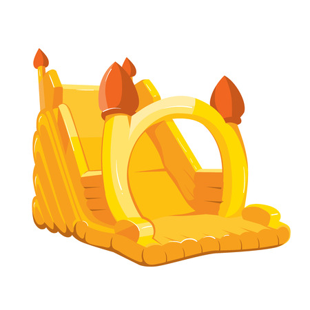 Vector illustration of inflatable castle for playground. Pictures isolate on white background
