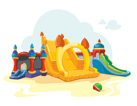 Vector illustration of inflatable castles and children hills on playground. Pictures isolate on white background Vettoriali