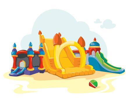 Ilustración del vector de castillos hinchables y colinas niños en patio. Fotos aislar sobre fondo blanco