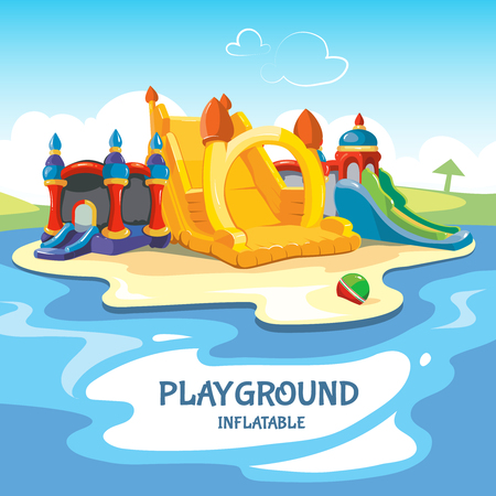 Vector illustration of inflatable castles and children hills on playground. Illustration