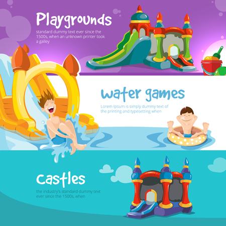 Ilustración del vector de castillos hinchables y colinas de agua en el patio de los niños. Conjunto de banderas de la tela con la imagen de castillos hinchables. Foto de archivo - 58183282