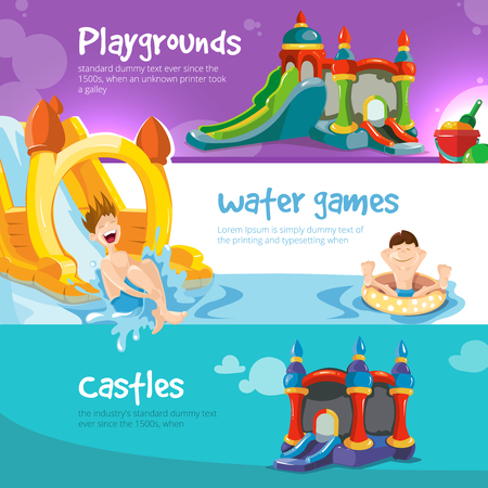 Vector illustration of inflatable castles and children water hills on playground. Set of web banners with picture of inflatable castles. Ilustração