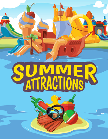 brincolin: Ilustración del vector de castillos hinchables, colinas de agua en un parque acuático. Publicidad cartel con el lugar para su texto