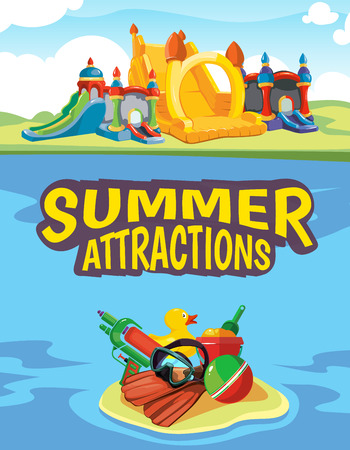 place for children: Vector illustration of inflatable castles and children hills on playground. Advertise poster with place for your text