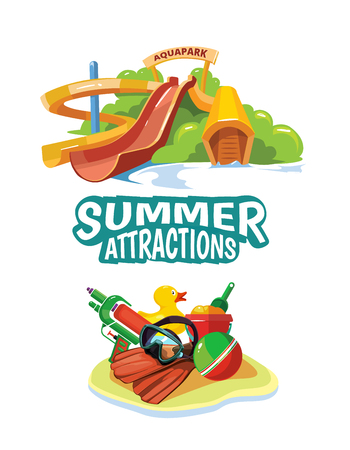 brincolin: Vector illustration of water hills in an aquapark. Advertise poster with place for your text. Picture isolate on white background