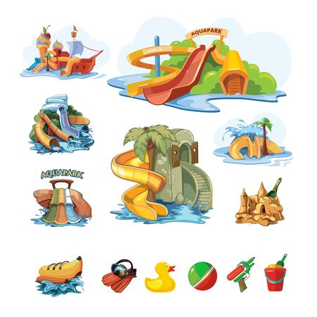 Vector illustrations Set of Water slide in an aquapark. Cartoon pictures set of water slide for web, site, advertising, banner, poster, board and print. Water slide idolate on white background