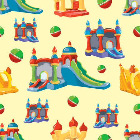 Vector seamless pattern of inflatable castles and children hills on playground. Pictures isolate on light background