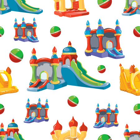 Vector seamless pattern of inflatable castles and children hills on playground. Pictures isolate on white background