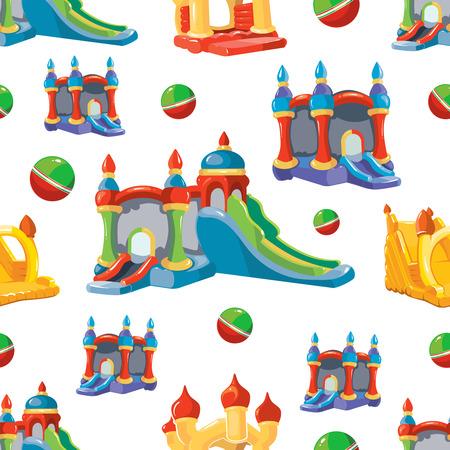 Vector naadloze patroon van springkastelen en kinderen heuvels op de speelplaats. Foto isoleren op een witte achtergrond Vector Illustratie