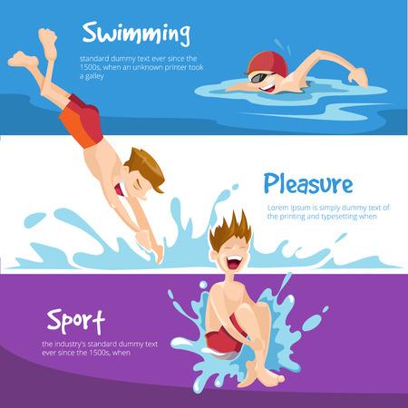 Ilustración del vector de Niños nada en la piscina. Conjunto de banderas de la tela con el lugar para su texto.