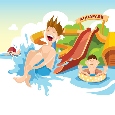 cartoon park: Vector illustration of water hills in an aquapark. The cheerful boy rides on water hills