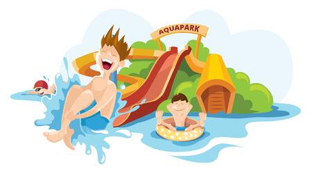 Vector illustratie van water heuvels in een aquapark. De vrolijke jongen rijdt op water heuvels. Picture isoleren op een witte achtergrond