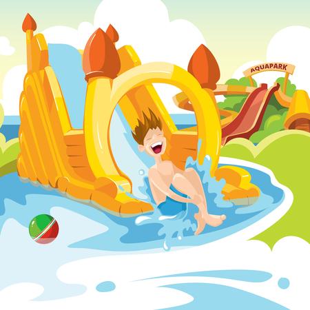 brincolin: Ilustración del vector de castillos hinchables y colinas de agua en el patio de los niños. Conjunto de banderas de la tela con la imagen de castillos hinchables.