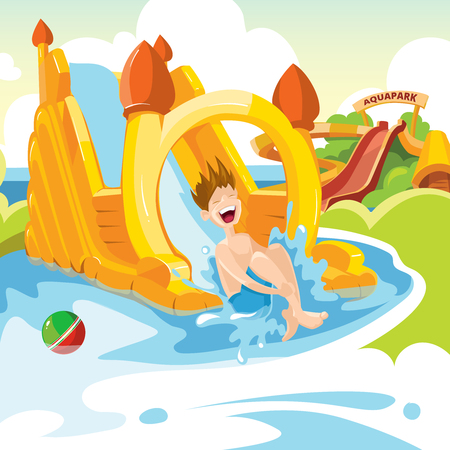 Vector illustration of inflatable castles and children water hills on playground. Set of web banners with picture of inflatable castles. Illustration