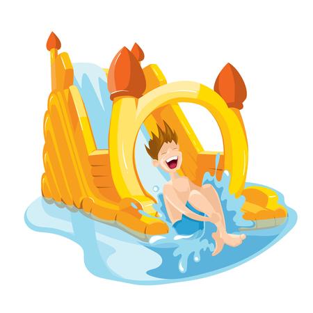 brincolin: Ilustración del vector de colinas inflables del agua en patio. El muchacho alegre monta en las colinas de agua. Imagen aislado en el fondo blanco