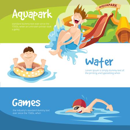 Ilustración del vector de las colinas de agua en un parque acuático. Los niños alegres paseos en las colinas de agua. El muchacho nada en la piscina. Conjunto de banderas de la tela
