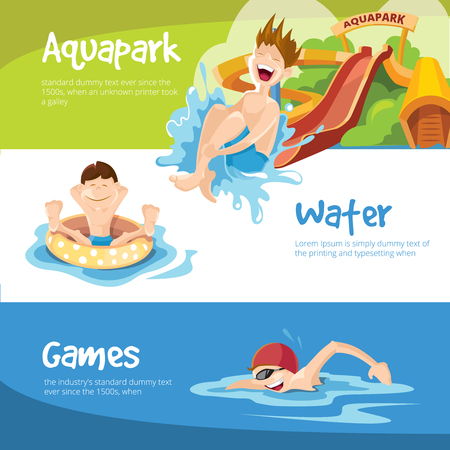 houses on water: Vector illustration of water hills in an aquapark. The cheerful childrens rides on water hills. Boy swims in the pool. Set of web banners