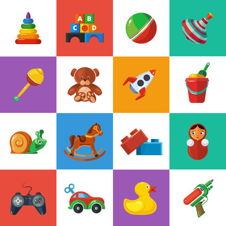 top gun: Toys icons for kids isolate on white background. Toys vector illustrations pack. Cartoon toys set Illustration