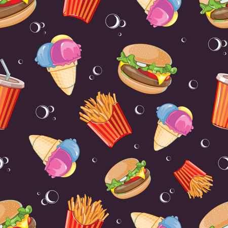 cold drink: vector seamless pattern with fast food icon set. Burger, plastic glass with cold drink, French fries and ice cream. Pictures isolate on dark background
