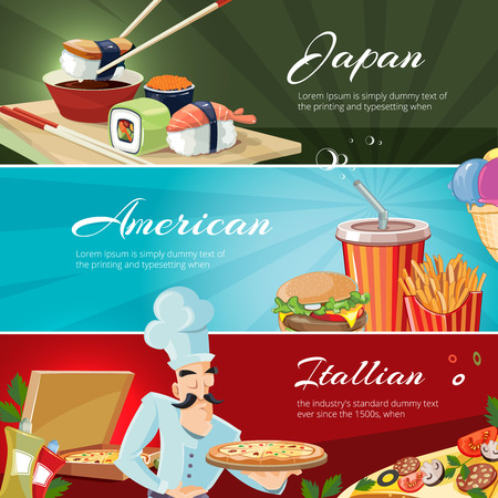 kobe: vector banners set with traditional cuisine of America, Japan and itallians. Web banners with place for your text.