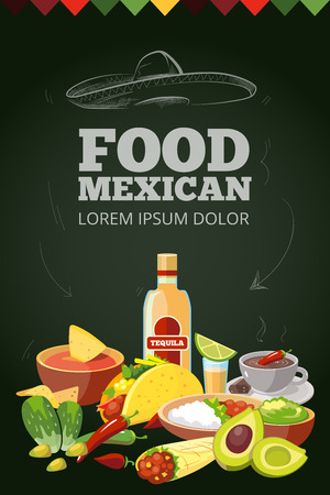 vector background picture with Mexican traditional food. Meat, avocado, tequila. Illustration isolate on dark background