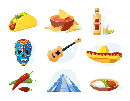 ellements: Vector icon set with traditional mexican ellements. Illustrations isolate on white background