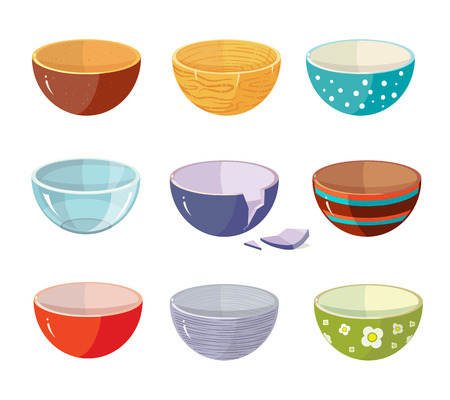 Vector set of empty soup plates with different texture. Illustration isolate on white background