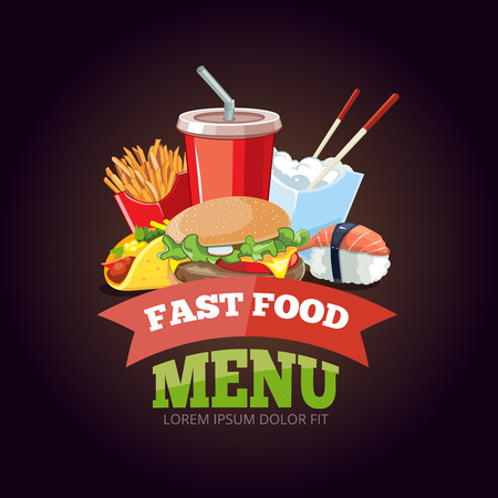 cold drink: vector illustration for fast food menu. Burger, plastic glass with cold drink, French fries, ice cream, tacos, sushi. Pictures isolate on dark background
