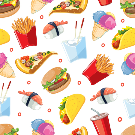 cold drink: vector seamless pattern with fast food icon set. Burger, plastic glass with cold drink, French fries, tacos, pizza, sushi. Pictures isolate on white background Illustration
