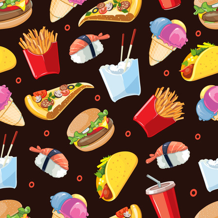 cold drink: vector seamless pattern with fast food icon set. Burger, plastic glass with cold drink, French fries, tacos, pizza, sushi. Pictures isolate on dark background Illustration