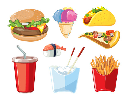 cold drink: vector fast food icon set. Burger, plastic glass with cold drink, French fries, ice cream, tacos, sushi, pizza. Pictures isolate on white background