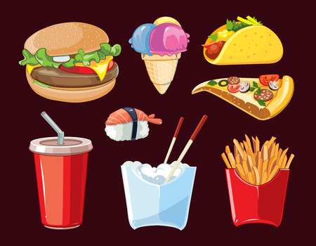 cold drink: vector fast food icon set. Burger, plastic glass with cold drink, French fries, ice cream, tacos, sushi, pizza. Pictures isolate on dark background Illustration